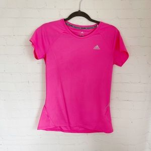 [Adidas] hot pink climalite scoop neck athletic tee Small